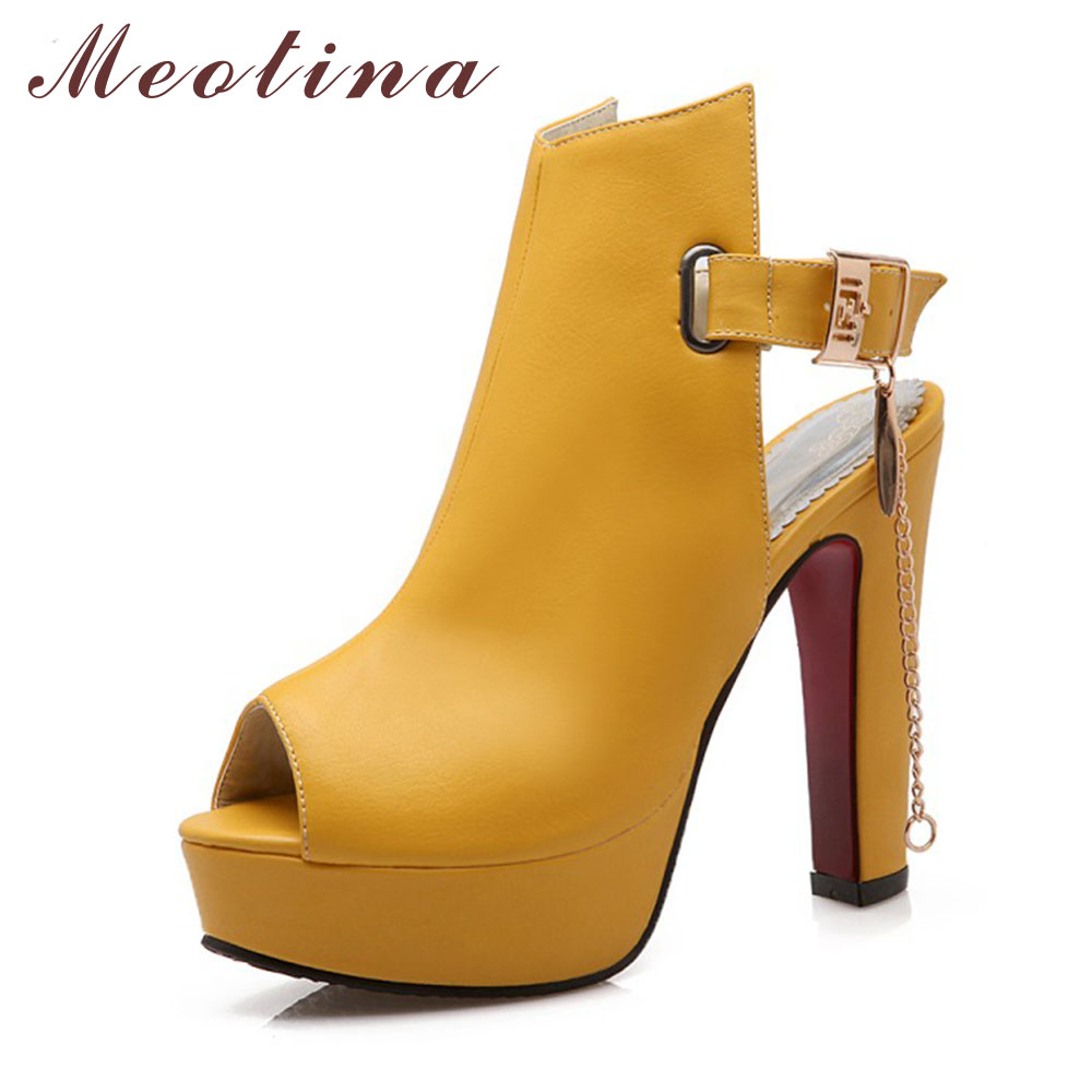 a9d2a37b8c73 Meotina Shoes Women High Heels Pumps Spring Peep Toe Gladiator Shoes Female  Chains Sequined High Heels Platform Shoes Yellow 43 - My Off Shoulder