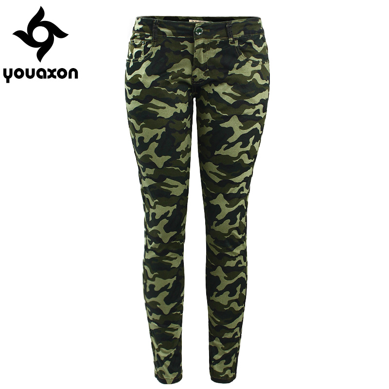 a74394d950316 2019 Youaxon Women`s S-XXXXXL Plus Size Chic Camo Army Green Skinny Jeans  For Women Femme Camouflage Cropped Pencil Pants - My Off Shoulder