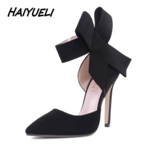 a4f6492c4d4 HAIYUELI New spring summer fashion sexy big bow pointed toe high heels  sandals shoes woman ladies wedding party pumps dress shoe