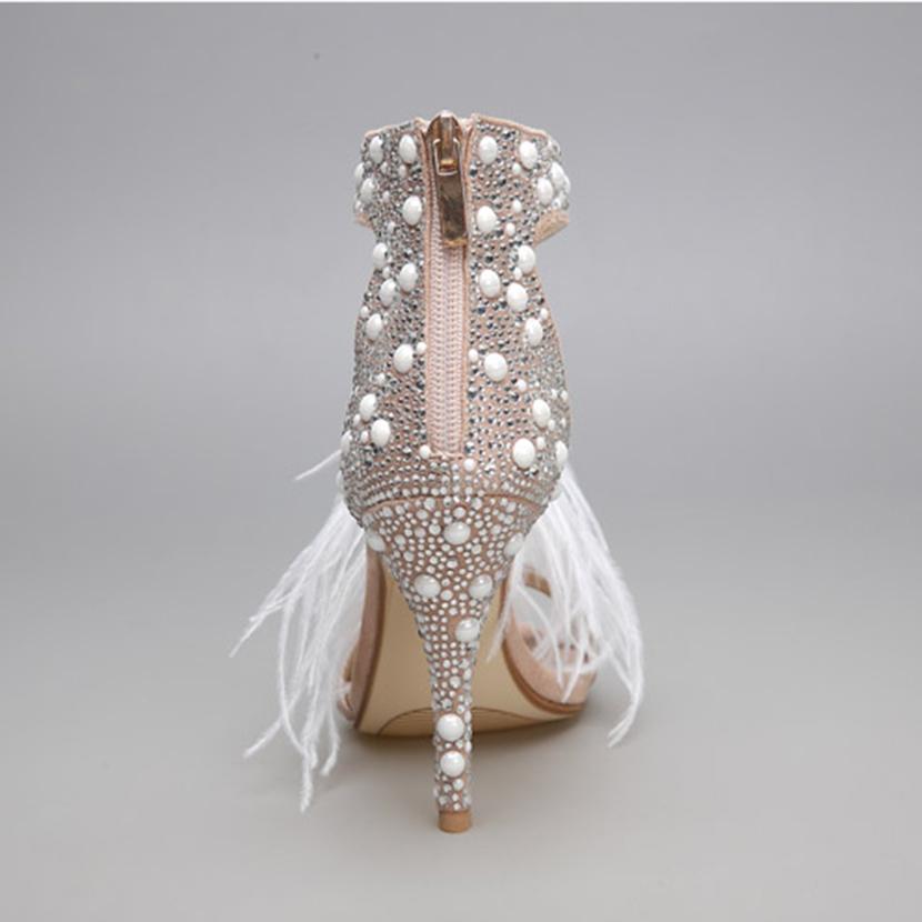 Sale! Home   SHOES   Heels   Genuine Leather Women Sandals Pumps Summer  Brand Fur Rhinestone Feather High Heel White Women Wedding ... 5efc9973dda0