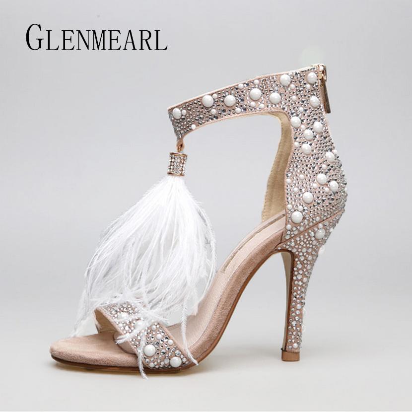 bdde977d671b Sale! Home   SHOES   Heels   Genuine Leather Women Sandals Pumps Summer  Brand Fur Rhinestone Feather High Heel White Women Wedding Pumps Shoes Plus Size  36