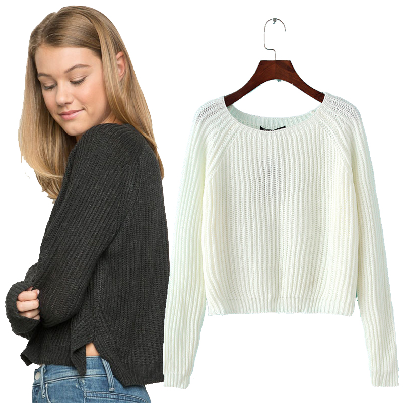 662cf99247 Sale! Home / Winter / Sweaters / Autumn winter new 2017 crop sweater casual sexy  women sweaters and pullovers knitted jumpers short basic solid slim ...