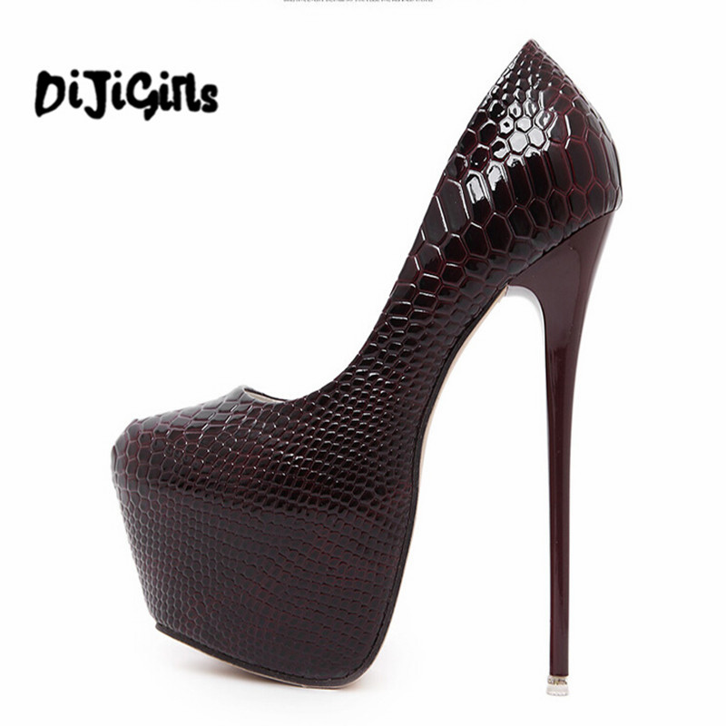 302ac58498 Sale! Home / SHOES / Heels / Fashion Women Round Toe Height Platform  Extreme High Heels Shoes 16CM ...