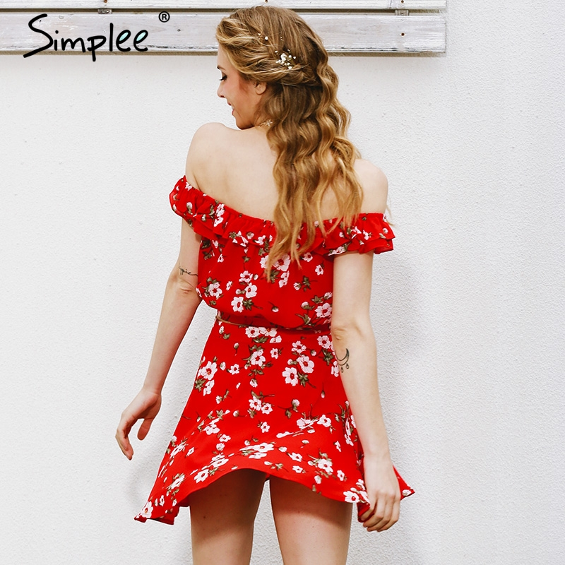 92a7ab8237b7 Sale! Home   Blouse   Tops   Off Shoulder   Simplee Two-piece red chiffon summer  dress ...