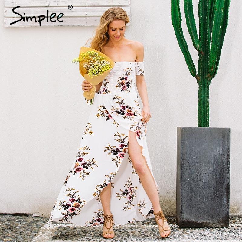 18a107899a Simplee Boho style long dress women Off shoulder beach summer dress new  year Vintage chiffon white maxi dress vestidos de festa