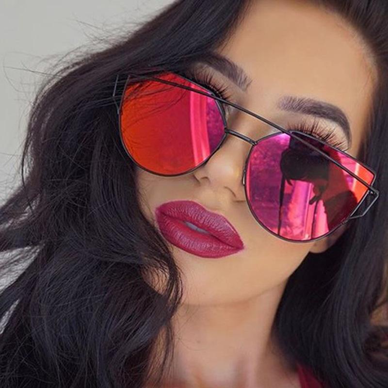 08a7d0d4e9 Home   GLASSES   Newest Cat Eye Sunglasses Women Brand Designer Twin-Beams Sun  Glasses Mirror ...