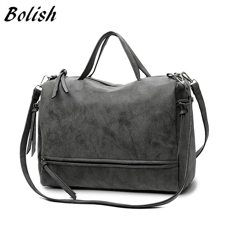 59b3c14c230 Bolish Brand Fashion Female Shoulder Bag Nubuck Leather women handbag  Vintage Messenger Bag Motorcycle Crossbody Bags Women Bag