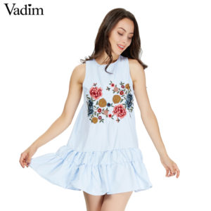 6f671f1ae4d Vadim women sweet floral embroidery pleated dress sleeveless o neck ladies summer  casual brand mini dresses vestidos QZ3051