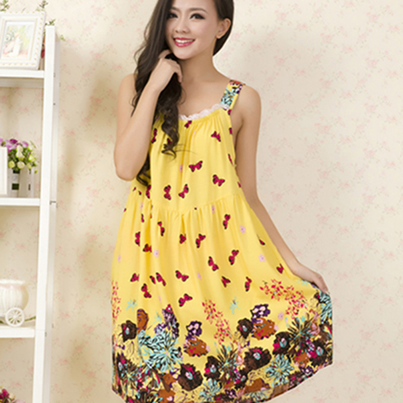 d9dd052e83 Home   Intimates   Nightwear   Women Cotton Nightgown Floral Sleep Dress  Sleeveless ...