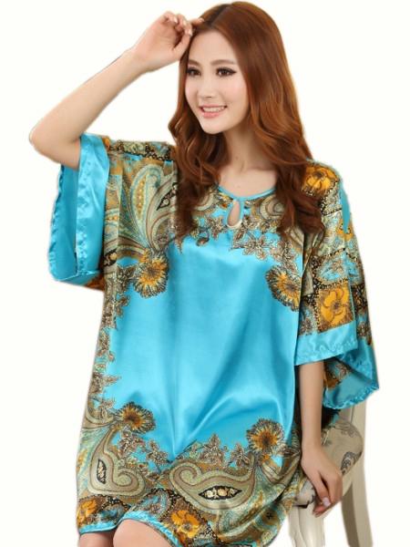 Summer Sexy Silk Nightgown Sleepshirts Women Short Sleeves