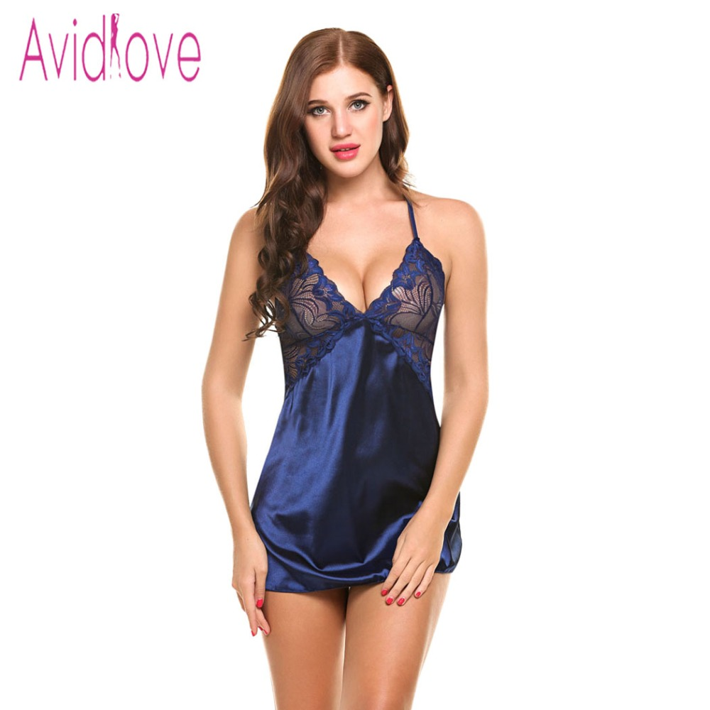 80a9026cb94 Home   Intimates   Nightwear   Avidlove Sexy Nightgown Lingerie Fashion  Patchwork Nightdress Women Sheer Scalloped Satin Nightwear Silk ...