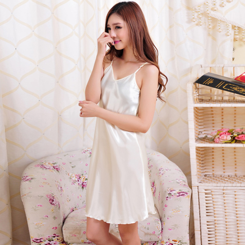 Home   Intimates   Nightwear   Sexy women nightwear mini nightgowns women  temptation sleeveless skirts silk satin sleepwear lingerie plus size night  dress 6e220d976