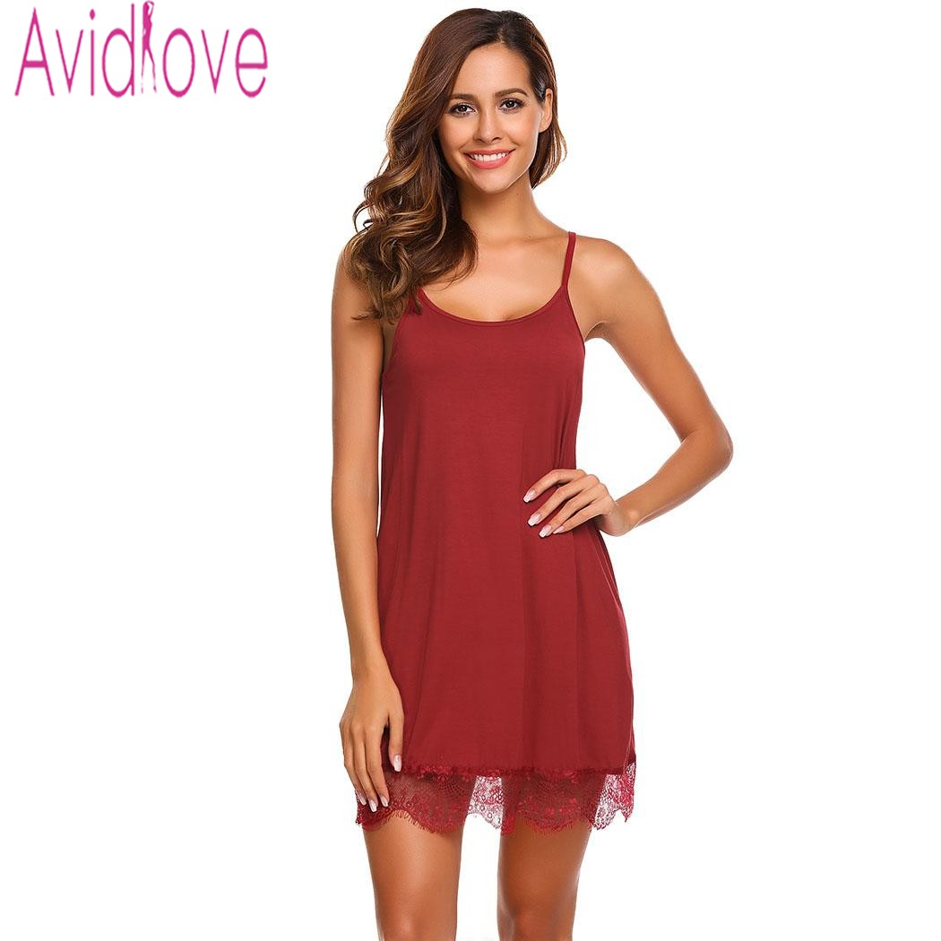Sale! Home   Intimates   Nightwear   Avidlove Lady Cotton Nightgown Women  Nightwear Nightdress Female Sleeveless Lace Nighty Sexy Sleepwear ... 4d1fd2ff9