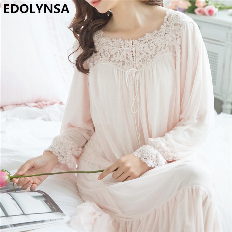 7e3e5afe8 Sale! Home   Intimates   Nightwear   Nightgowns Sleepshirt 2017 Lace  Sleepwear Vintage Nightdress Indoor Clothing Nightwear Solid Nightgown  Female ...