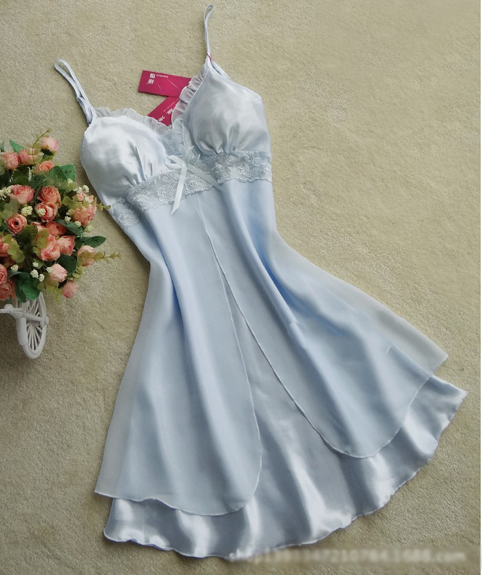 Sale! Home   Intimates   Nightwear   Women Sexy Silk Satin Night Gown  Sleeveless Nightdress Lace Sleep Dress V-neck Nighties ... 76fdc3da0