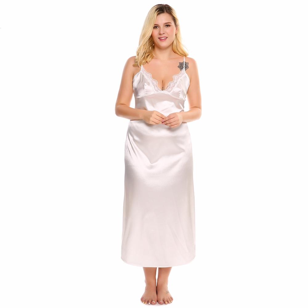 Sale! Home   Intimates   Nightwear   Plus Size 4XL Summer Sexy Lace Satin Sleepwear  Dress Women Elegant Long Nightgown Nightwear White Home Night Sleepshirt ... d95693dd0