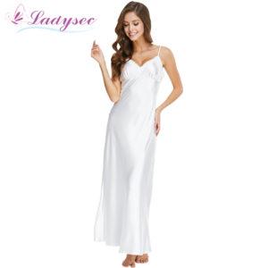 1900abc49 Long Nightgowns Spaghetti Strap Sleepdress Lace Sexy V-Neck Nightwear For Women  Solid White Nightdress Lady Lingeries SLA501W