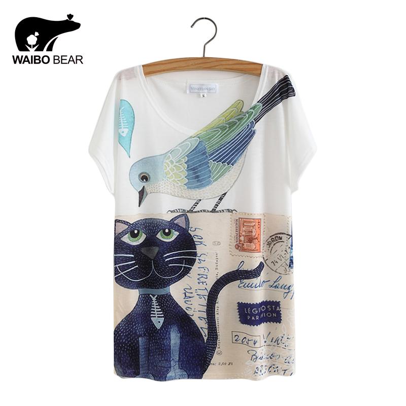 04018710b6586 Cat Animal Printed T Shirt Women Tops 2017 Summer Camisetas Mujer ...