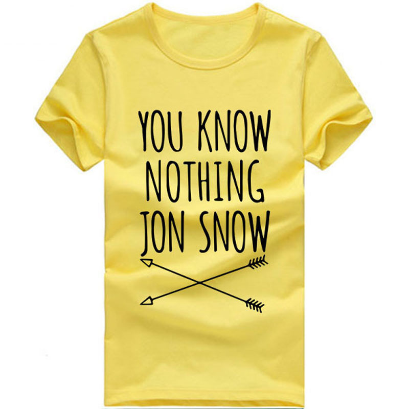 30fcce11bb2 CWLSP 2017 Summer Games Of Thrones Womens T Shirt Female You Know Nothing  Jon Snow Printed Letter T shirt tees Camisetas Mujer - My Off Shoulder