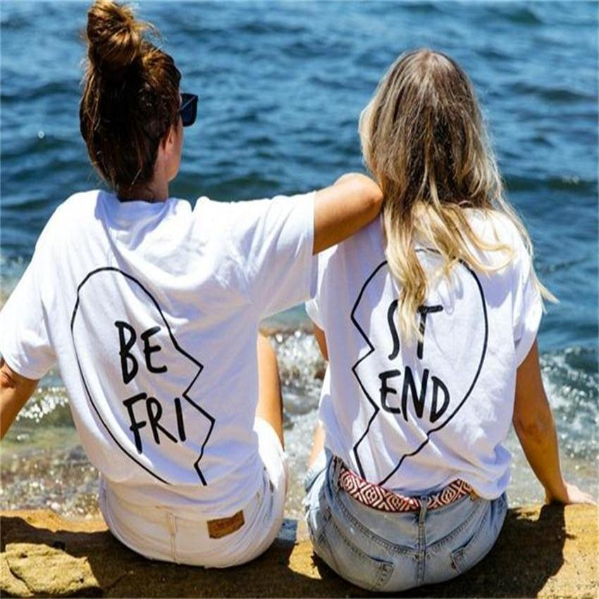 9f486dac93d Home   Blouse   Tops   Printed tops   Best Friends T Shirt Women 2017 Summer  Women T-Shirt Printing Female Letter BE FRI ST END T Shirts Short Sleeve  White ...