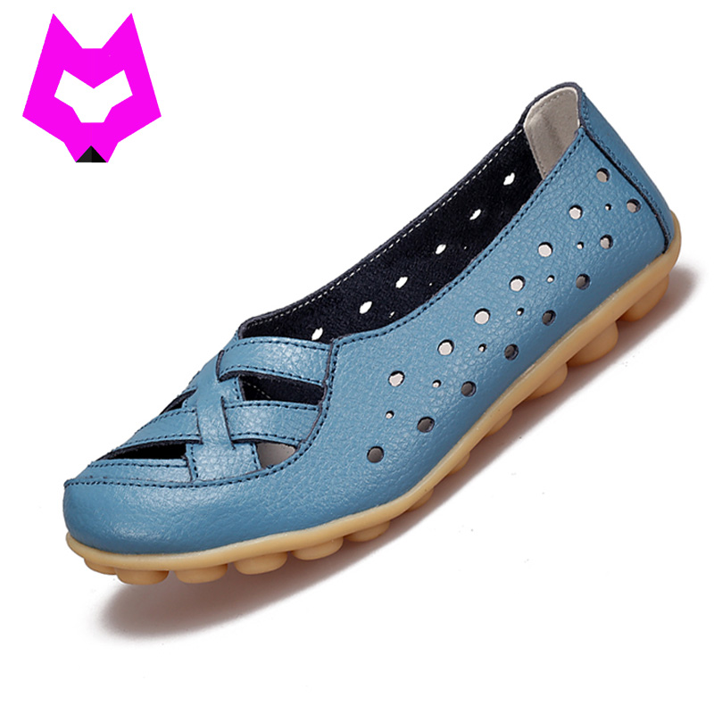 014b274ad30 Sale! Home   SHOES   Loafers   2017 Fashion Genuine Leather Breathable  Casual Loafers Shoes Women Sandals Summer Shoes Flats with Hollow Out Plus  Size ...