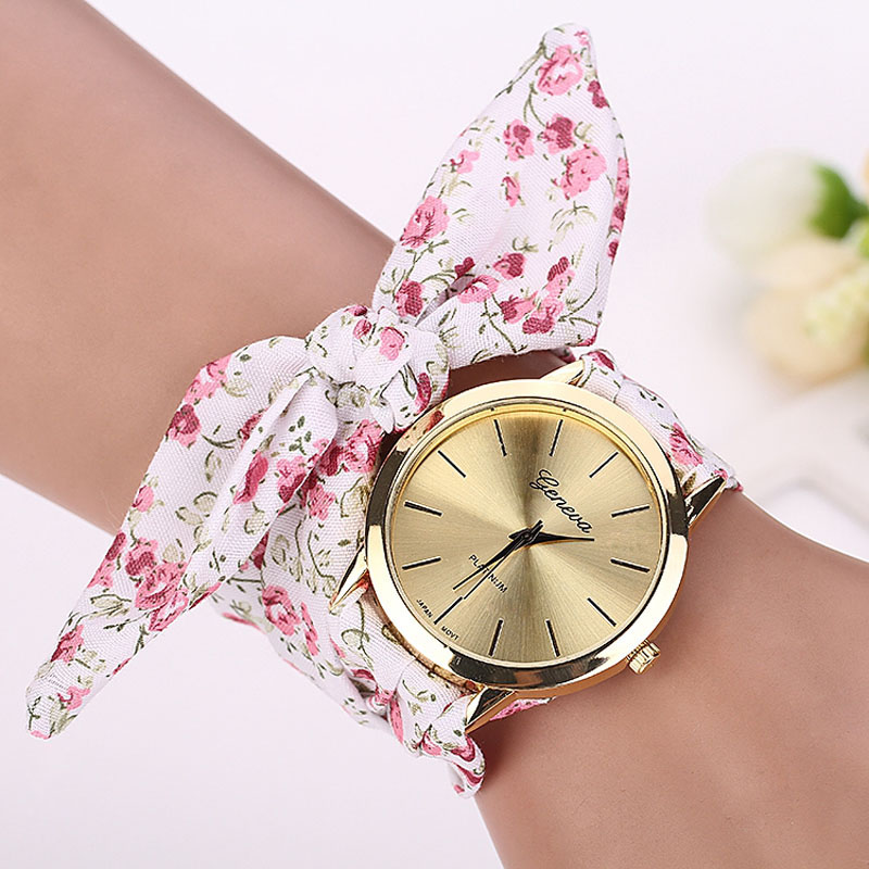 wrist ladies dress watch quality fashion s from watches fabric design new in on women geneva sweet item stripe cloth high girls