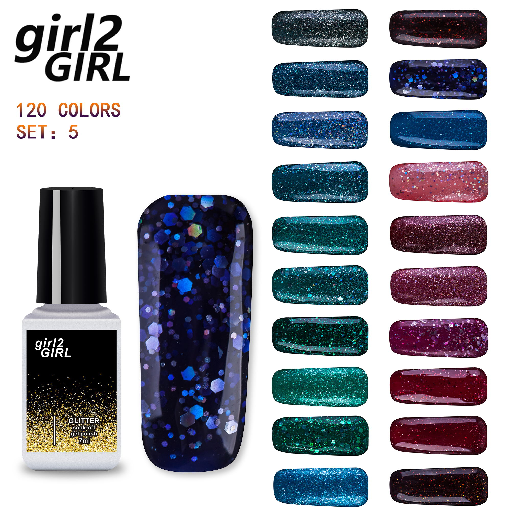 girl2Girl UV Gel Nail Manicure 7ml Diamond Glitter UV Nail Polish ...