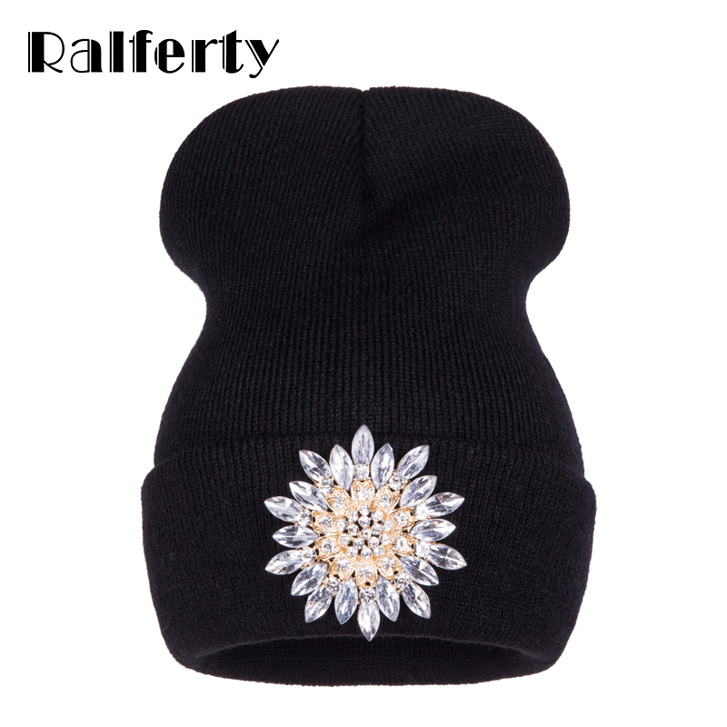 69d7f717cfe Sale! Home   Winter   Caps   Ralferty 2017 New Winter Hats For Women  Knitted Luxury Flower Crystal Beanies Hat Off White ...