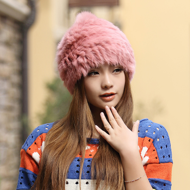 High quality Fashionable winter hats for women Rabbit Fur beanie Knitting  wool Real Fur Casual cute girls cap free shopping - My Off Shoulder 5d2f768af53