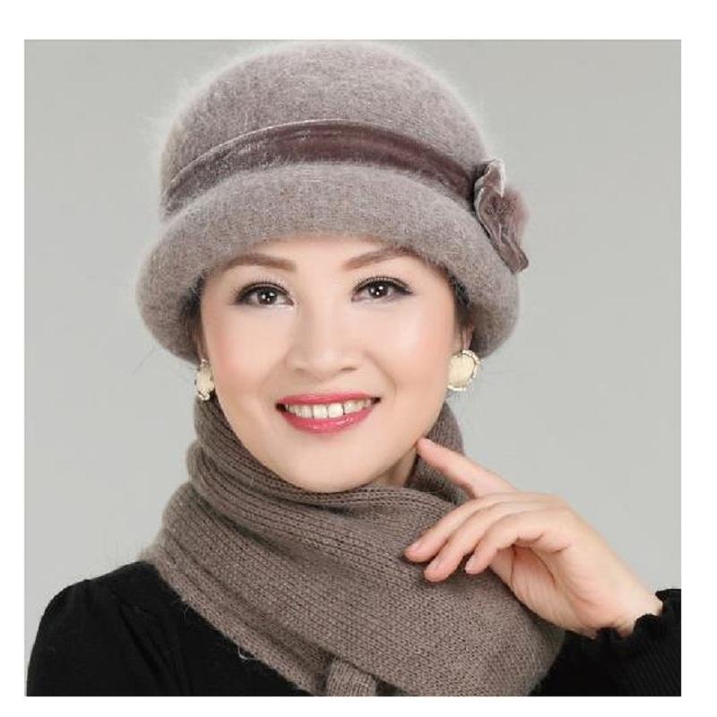 590188312 New Fashion Women Winter Hat Sets Floral Skullies Wool Mixed Rabbit Fur  Warm Outdoor Knitted Beanies Baggy Headwear Cap