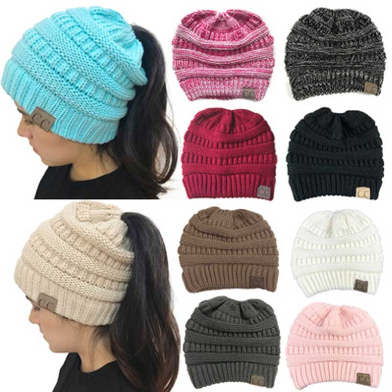 7354417aa Winter Cap CC Ponytail Beanie Hat Women Skullies Beanies Female Knit Warm  Caps Stylish Hats For Ladies Fashion Girl Knitting Cap
