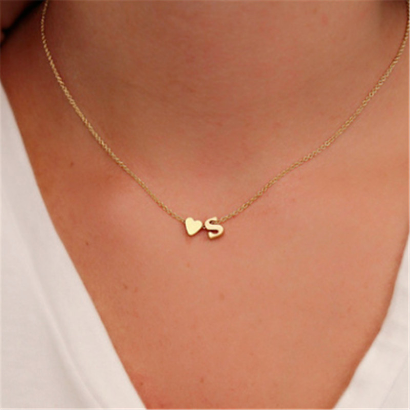 fashion tiny dainty heart initial necklace personalized letter