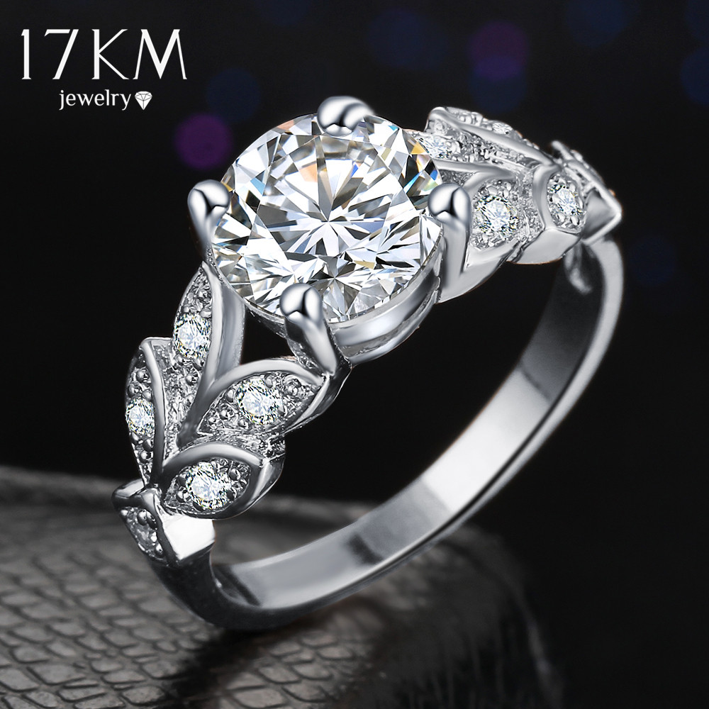 17KM Silver Color Crystal Flower Wedding Rings For Women Jewelry
