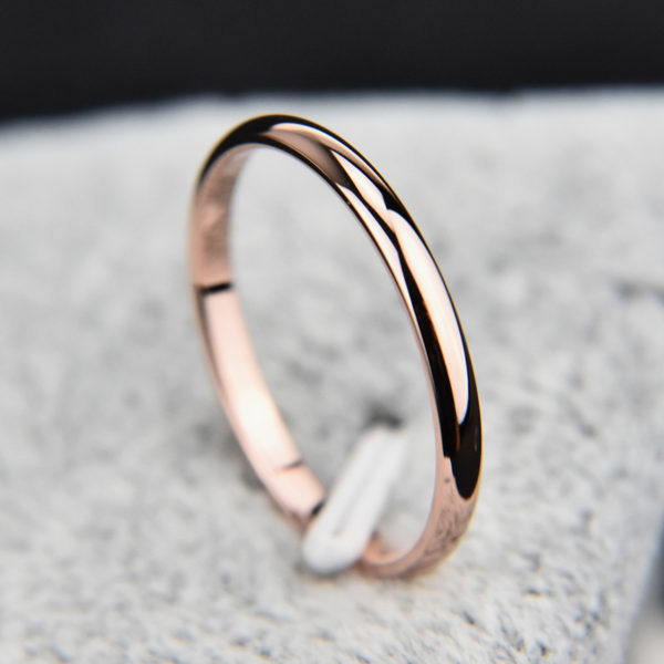 KNOCK Titanium Steel Rose Gold Antiallergy Smooth Simple Wedding