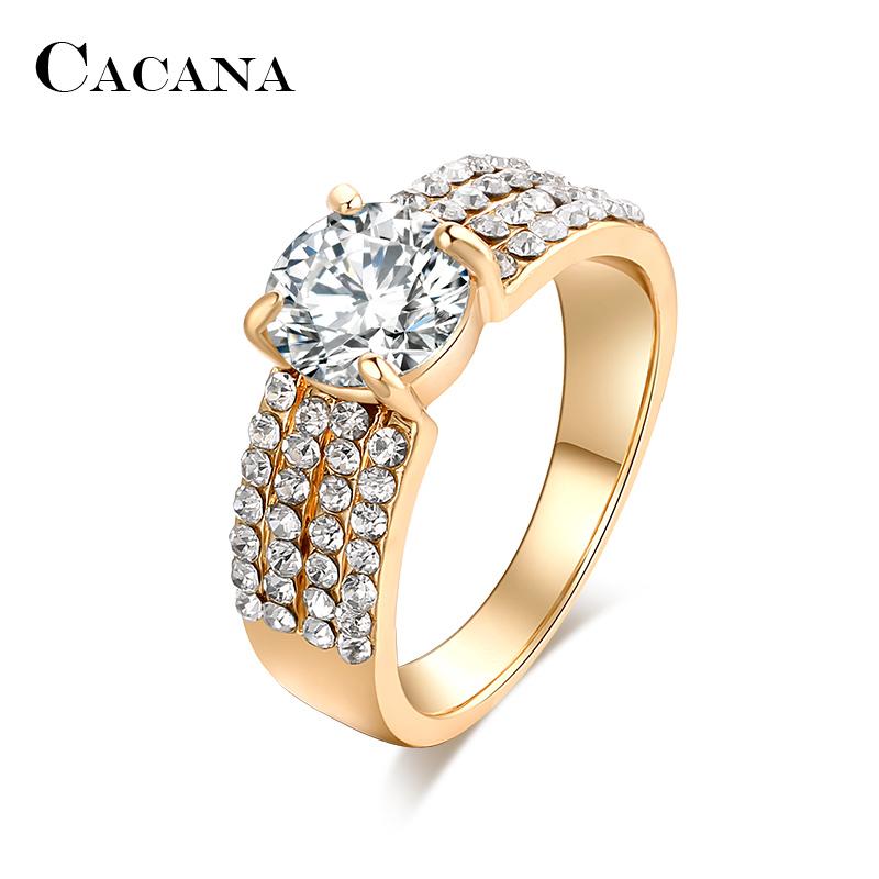 Nouvelles Arrivées vente la moins chère réputation fiable CACANA Four lines Cubic Zirconia Rings For Women Trendy Fashion Zinc Alloy  Rings Jewelry Bijouterie Wholesale NO.R503