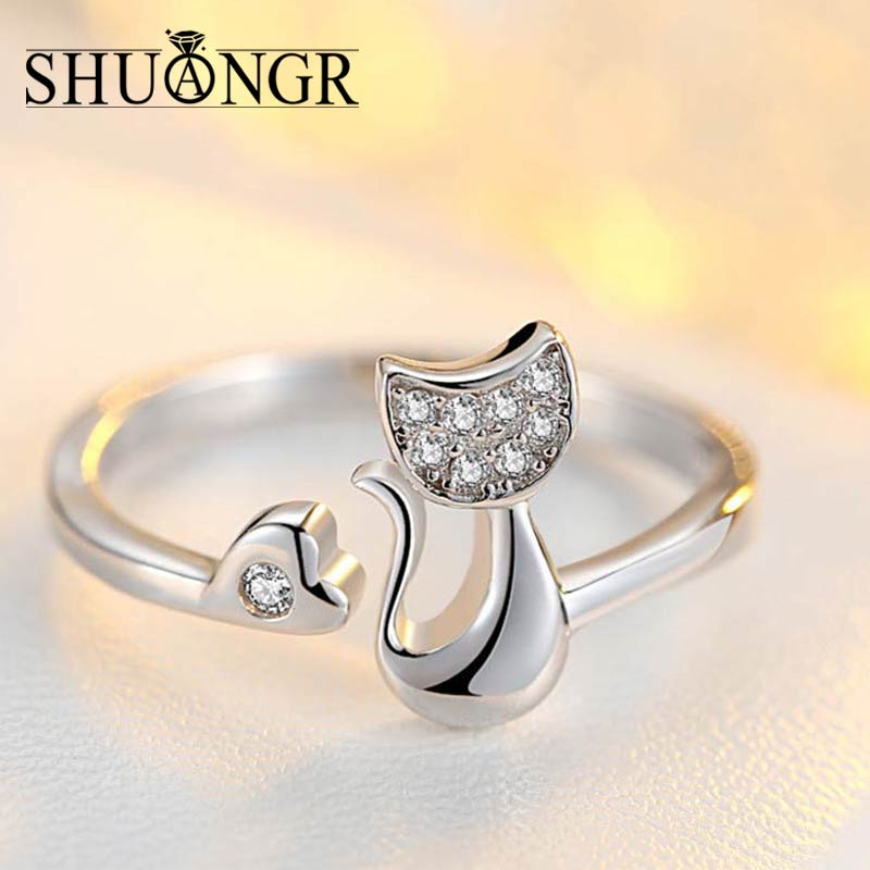 silver product gift wedding design animal for cute detail cat kids rings sterling jewellery