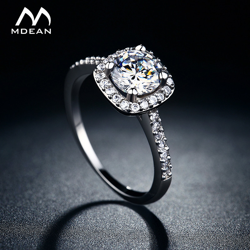MDEAN Wedding rings for women White Gold Color jewelry rings