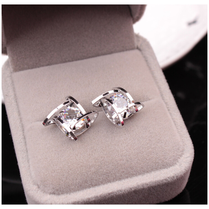 Elegant And Charming Black Rhinestone Full Crystals Square Stud Earrings For Women S Statement Piercing Jewelry E297 My Off Shoulder