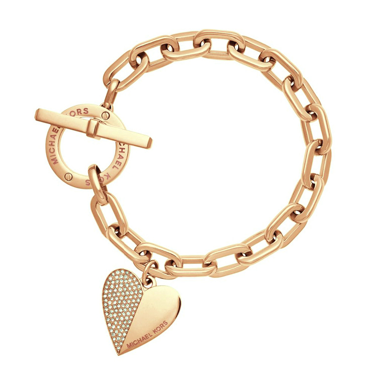 Supin Fashion Exquisite Link Chain Polishing Crystal Gold Sliver Rose Wrist Bracelet Trendy Heart Metal Cuff