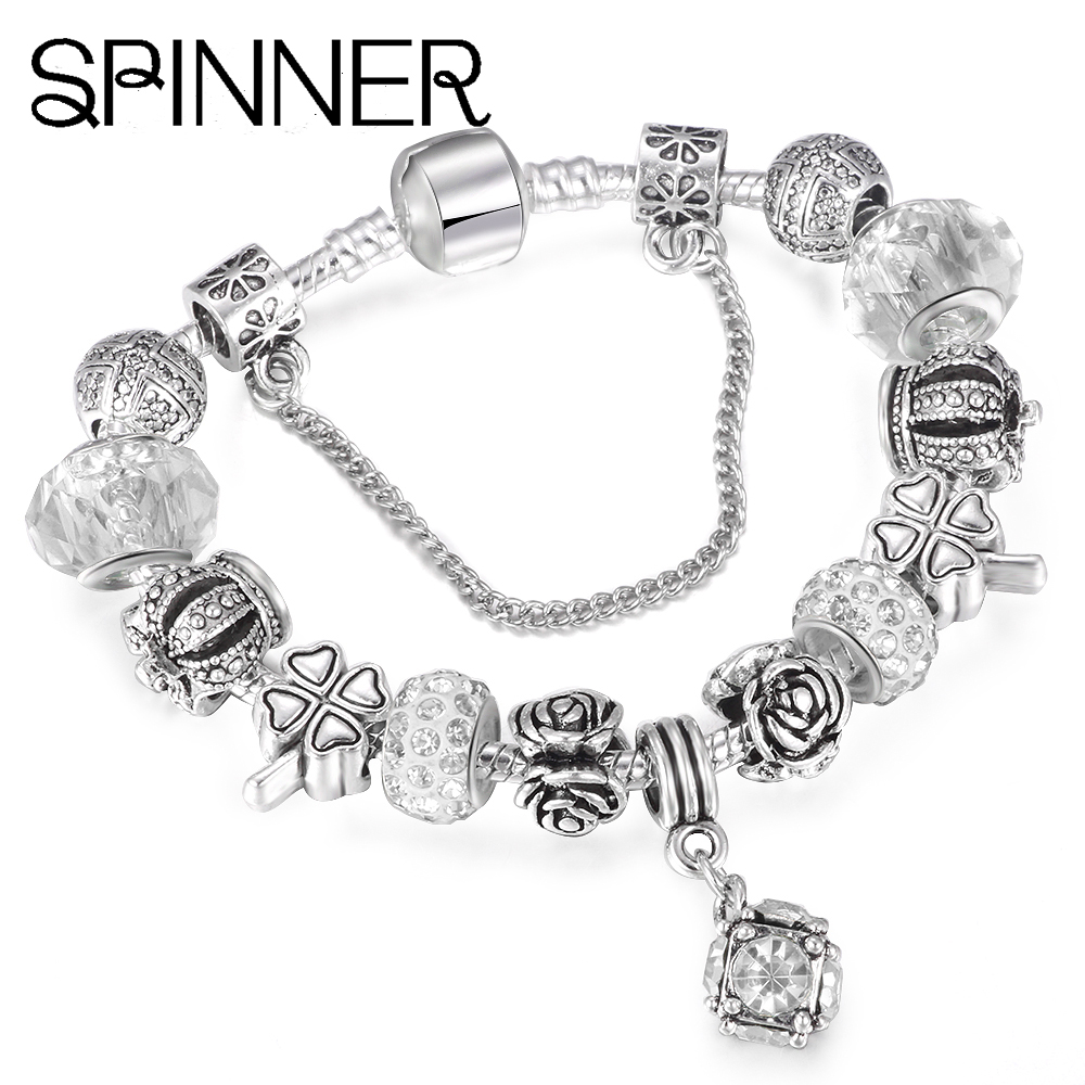 Jewelry & Accessories Spinner High Quality White Gold Color Beads Charms Fit Pandora Charm Bracelets For Diy Jewelry Up-To-Date Styling Beads & Jewelry Making