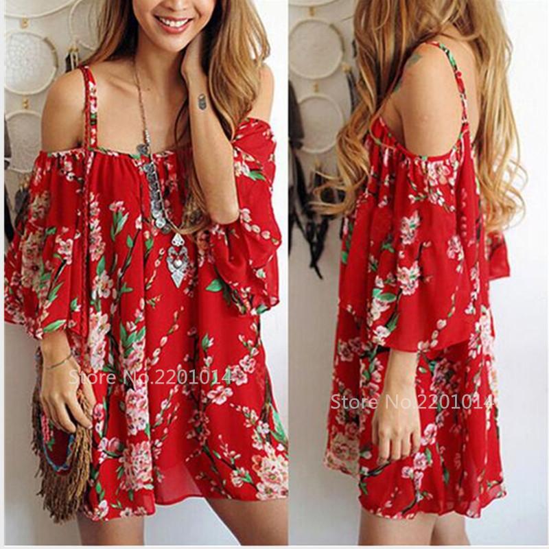 7ef62a06586 Summer Dress 2017 Women Boho Chic Style Slash Neck Off Shoulder Top ...
