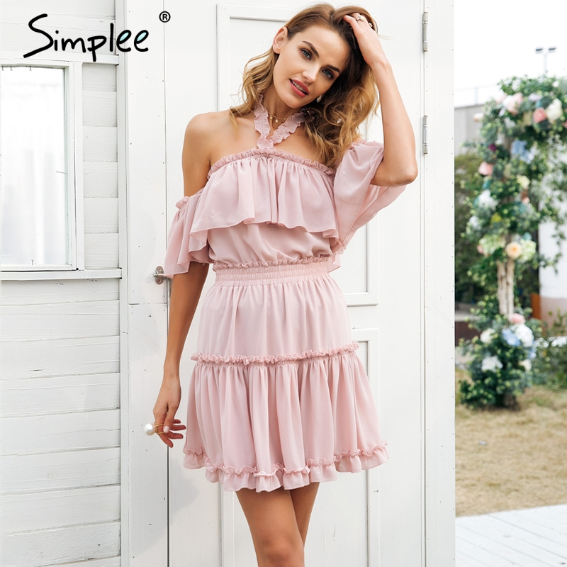 Sale! Home   Blouse   Tops   Off Shoulder   Simplee Halter off shoulder  summer dress women Ruffle ... aa1f3cf0b