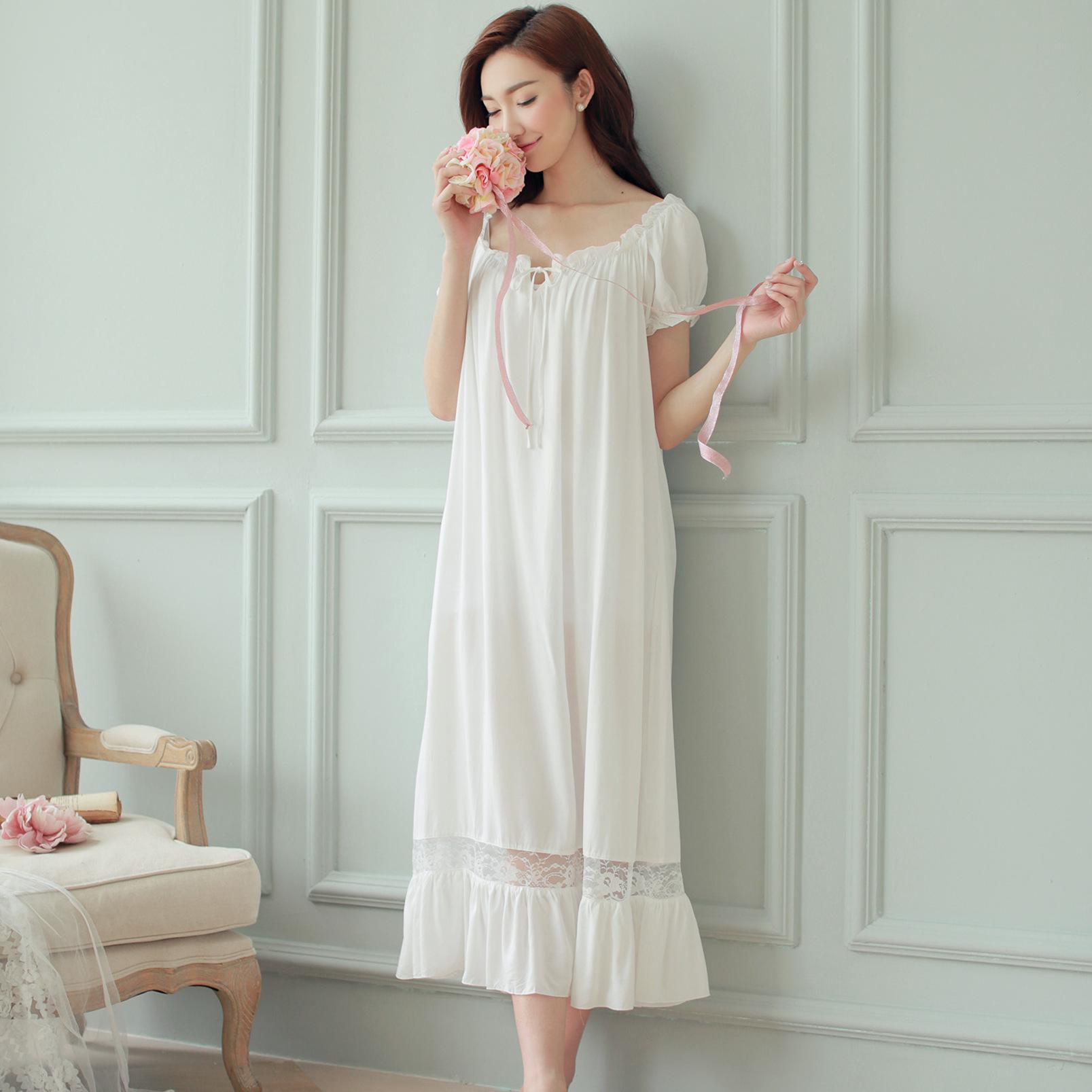 Night dress long white nightgown Women Nightgowns Cotton Short sexy ... 4fba42417d53