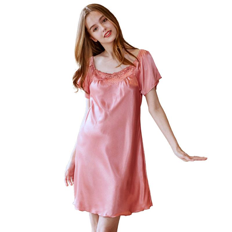 4dcf56ffec1 Sale! Home   Intimates   Nightwear   Ladies Silk Sleepwear Summer Nightgown  Sexy Lingerie Pink Nightdress for Women Satin Sleep Shirts ...